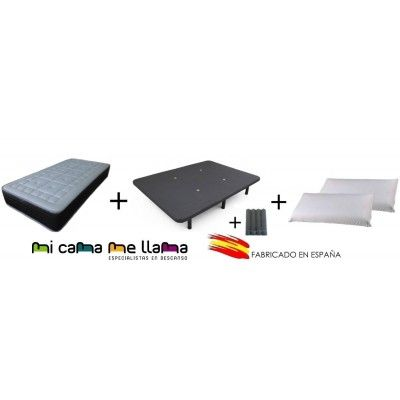 PACK COLCHON VISCOGEL + BASE TAPIZADA 3D + PATAS + ALMOHADAS VISCO