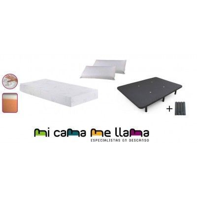 PACK COLCHON VISCO 4 + BASE TAPIZADA 3D + ALMOHADAS VISCO