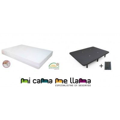 PACK COLCHON VISCO 21 + BASE TAPIZADA + PATAS